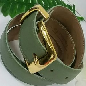 Talbots Solid Brass Buckle LEATHER Belt ~Green